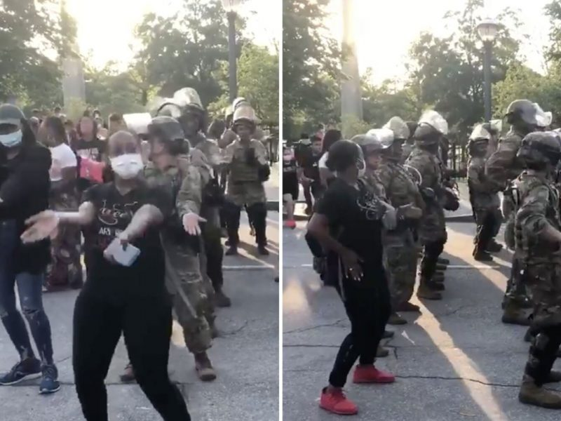 Nationwide Guard troopers be a part of protesters in MACARENA dance-off simply minutes earlier than curfew in Atlanta