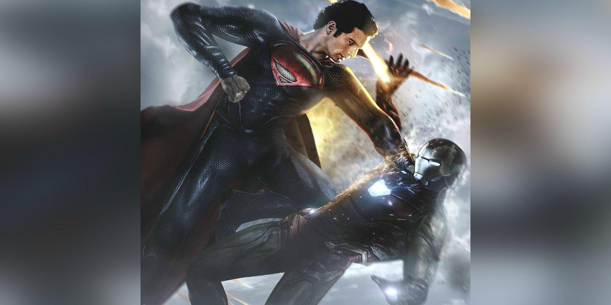Henry Cavill's Superman Attacks Iron Man in Marvel Vs DC Crossover Art