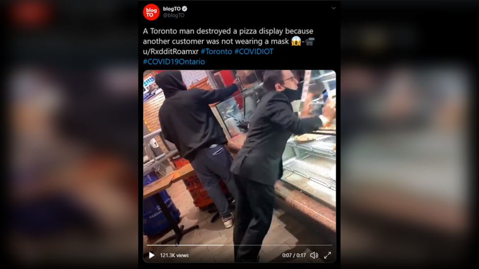 Toronto man has meltdown, destroys glass display after confronting maskless pizza shop customer (VIDEO)